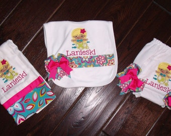 Boutique Tropical Mermaid themed Bib, Burp Cloth, and Bloomers with Bows