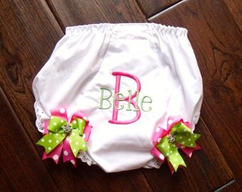 Boutique Cake Smash Birthday Bloomers with Bling Bows