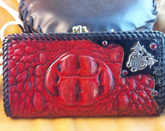 Ladies Red Fire Dragon Leather Clutch Purse
