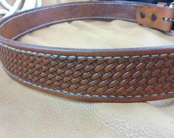 Mens Belt, Hand tooled Leather