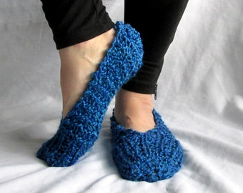 Blue Womens Slippers with Non Skid Sole, Ladies Slippers, Womens Bedroom Slippers, Hand Knit Slippers, Gifts Under 20, Gifts for Her