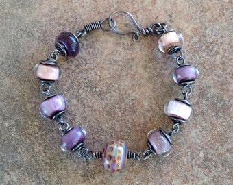 Mauve, Pink, Purple Lampwork Glass Wire Wrapped Copper Bracelet