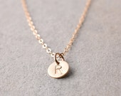 Personalized Mini Initial Gold Tag Necklace / 14k Gold Filled Initial Necklace / Everyday Custom Jewelry / Delicate Layering Necklace BW106