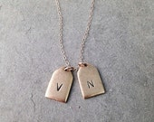 Initial Engraved Mini Tag Necklace, Delicate Gold Chain with Stamped Letter Charm Pendants