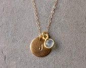 Personalized  Initial Necklace, Gemstone Necklace / 14k Gold Filled Necklace / Everyday Delicate Gold Jewelry BW101