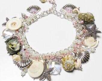 Silver Seashell Charm Bracelet Shell Chunky Cha Cha Bracelets Shell Pink & Sea Green Silver-Plated OCEAN THEMED Starfish Shells Fish OOAK