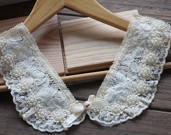 Beaded lace collar, ivory lace collar
