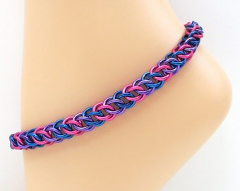 Bi pride anklet, chainmail jewelry, half Persian 3 in 1 weave, Bisexual jewelry, pink purple blue