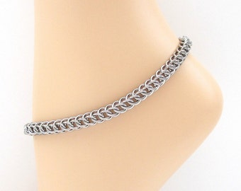 Stainless steel chainmaille anklet, ankle chain for men or women, chain anklet, steel jewelry