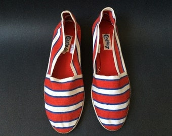 Vintage Red White and Blue Canvas Shoes