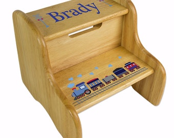 Personalized Wood Step Stool for Boy's Two Step Stools - Custom Stepping Stool Great Baby Gift for Toddlers too for Nursery Bed Bath