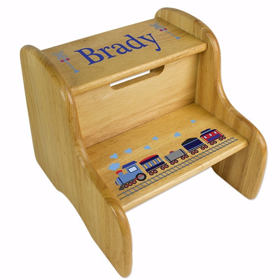 Personalized boy s natural wood two step stool great by