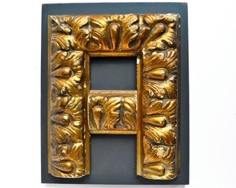 original sign letter, GOLD, letter A, made with vintage salvaged parts  by Elizabeth Rosen