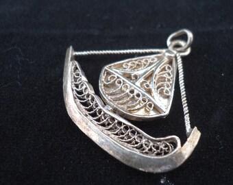 Vintage Filigree Ship Pendant, Silver Tone Filigree Sail Boat Pendant, UK Seller