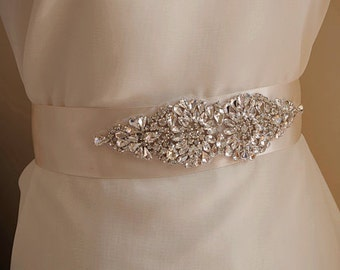 crystal applique, bridal sash applique, rhinestone sash applique