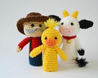 Old MacDonald finger puppets, crochet finger puppets, Amigurumi Old MacDonald's farm, crochet farm animals, Old McDonald, storytelling set