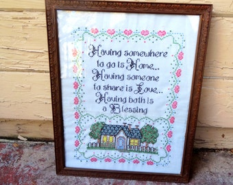 Vintage cross stitch embroidered welcome sign home decor