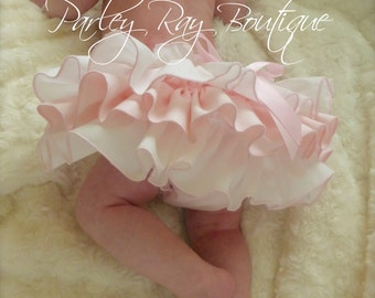 A Beautiful Parley Ray Boutique Custom Pink & White Ruffled Baby Bloomers/ Diaper Cover / Photo Props