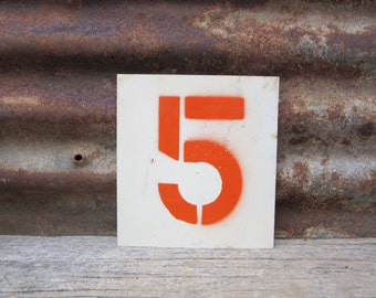 Vintage Sign Metal Number Sign Number 5/10 or 5 Double Sided Old Gas Station Number Orange White Rusted Rustic Metal vtg Gas Station Sign