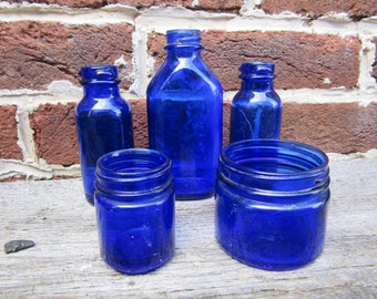 F Blue Bottles Collection 5 Antique Cobalt Blue Bottles Old Bottles Lot For Wedding Table Vases or Rustic Farm Country Display Old Fashion