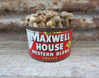 Vintage Metal Coffee Can Maxwell House RED 1950s Tin FILLED with Vintage Wood Clothes Pins Laundry Room Decor Primitive Farm House Antique