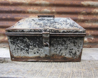 Antique Victorian Metal Tool Box w/YALE Lock and Key Painted Metal Industrial with Tool Caddy Industrial Decor Storage Organization Rustic