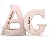Organic Baby Toy - Personalized Alphabet Teether - Choose Your Letter