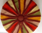 Vintage Round Crochet Pillow 1960s Orange Green Yellow Brown 15""