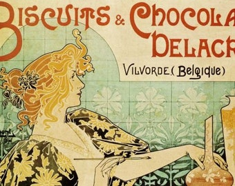 ART NOUVEAU Print of Ad for Biscuits and Chocolate by Henri Privat Livemont