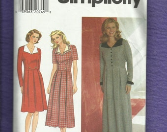 Simplicity 7797 Tailored Dress with Wide Pointed Collar & Pleateed Skirt Sizes 14..16..18 UNCUT