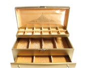 Lady Buxton Jewelry Box Vintage Gold Hard Leatherette Locking Case with Key, Drawer and Tray