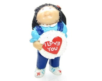 Cabbage Patch Kids Miniature Figurine Vintage PVC Girl with I Love You Heart, Flowers