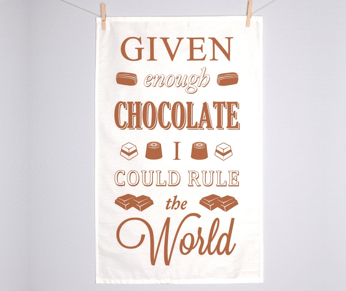 Chocolate tea towel typographic dish cloth easter quotes zoom negle Gallery