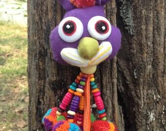 Purple Rabbit Pom Pom Keychain Handmade