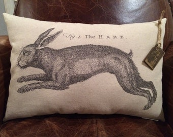 Canvas Decorative Pillow with Vintage Easter Hare/Rabbit Image/Spring