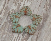 Czech Glass Maple Leaf 10x13mm Bead Green Copper Minty FULL MOON (10)