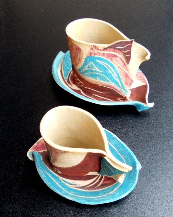 Coffee or tea cup with saucer .Hand painted ceramic cup with ceramic saucer.
