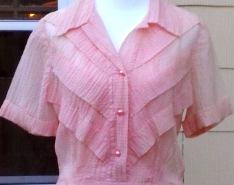 Vintage 1930s 1940s Peach Pink Sheer Day Cocktail Party Dress Art Deco UNWORN Small Medium