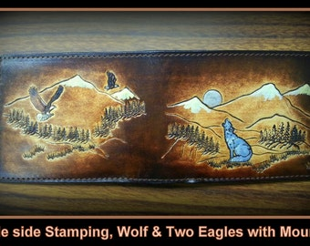 Personilized Men's Leather Wallet Eagles and Wolf, Hand Stamped Leather Billfold Stamped Front and Back all credit card inside