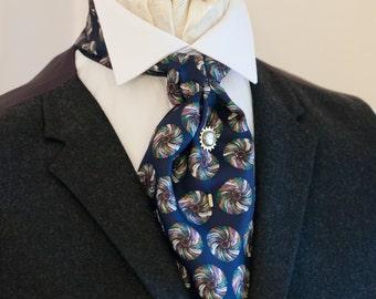 Navy Blue Circle Design Vintage Italian Silk Cravat Ascot