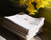 Vintage French Linen, French Kitchen Linens, Vintage Tea towels for French country Decor, J K initials, Vintage Supplies