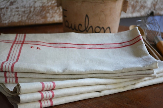 antique french linens vintage tea towels with red stripes