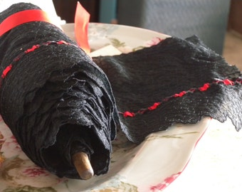 """Five and 3/4""""  Yards of Wide Black Lace with Red Inserted Ribbon // Lace is 6 and 1/4"""" Wide On Vintage Wood Bobbin"""