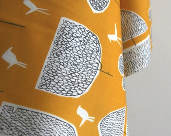 Organic Tokoyo Trees in Gold from Yoyogi Park by Skinny Laminx for Cloud 9 Fabrics - ONE HALF YARD Cut