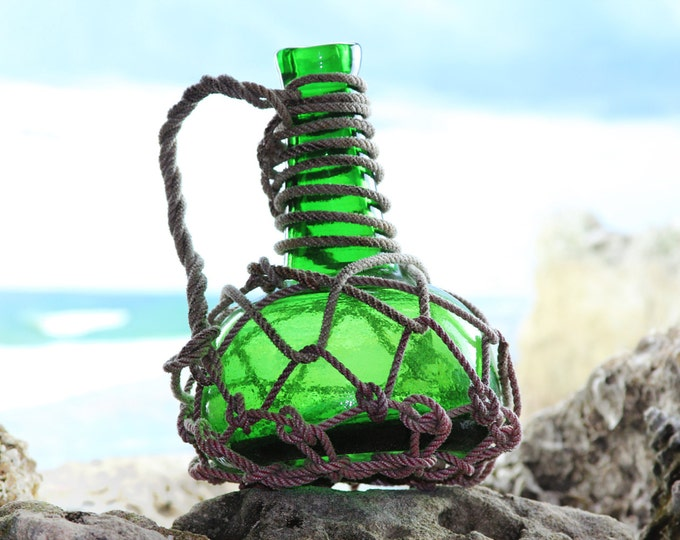 Beach Decor, Pirates Rum Jug, Green, Glass  in Rope Netting by SEASTYLE
