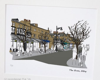"The Grove, Ilkley, Yorkshire - Original art illustrative print, (10"" x 12"") 'as scene by me' range"
