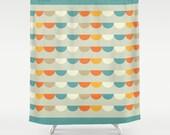 Funfair Retro Shower Curtain , retro geometric pattern bathroom shower curtains, retro pattern bathroom decor