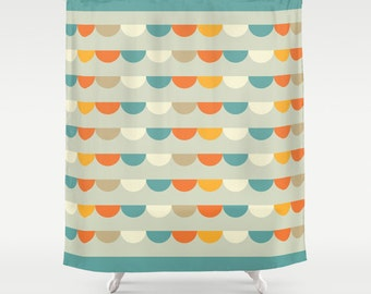 Funfair Retro Shower Curtain , retro geometric pattern bathroom shower curtains, retro pattern bathroom decor