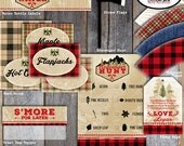 Lumberjack Food Tents - Camping Party Food Tents - Printable (Buffet Label Buffalo Plaid Flannel Lodge Cabin Woodland Mountain Rustic Axe)