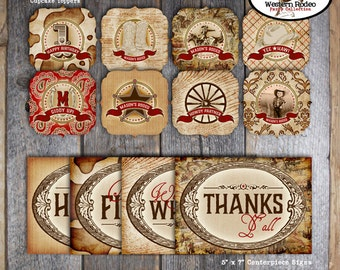 Cowboy - Western Rodeo Party -  Complete Collection - Toppers, Banner, Favor Tags & More - Printable (Wild West, Roundup, Birthday)